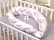 Pletená ochrana na mřížky dětské hnízdo růžové 240cm