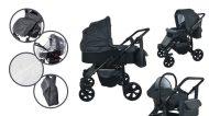 Mama Kiddies Sleep Collection dětský multifunkční kočárek 3v1 v tmavě šedé barvě + dárky