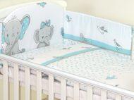 Mama Kiddies Baby Bear 5-dílná dětská ložní souprava s mantinelem 180°, tyrkysová - vzor sloni