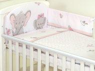 Mama Kiddies Baby Bear 5-dílná dětská ložní souprava s mantinelem 180°, růžová - vzor sloni