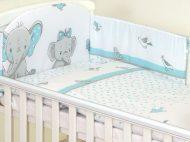 Mama Kiddies Baby Bear 6-dílná dětská ložní souprava s mantinelem 180°, tyrkysová - vzor sloni