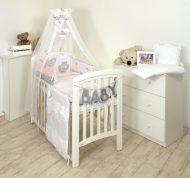 Mama Kiddies Baby Bear 6-dielna detská posteľná bielizeň s 180 ° krytom na mriežky ružová so sloníkom