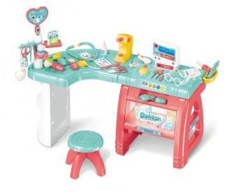 Máma Kiddies 27-dílný kompletní lékařský stůl se židlí a mnoha doplňky v růžovo-modré barvě