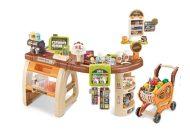 Mama Kiddies 65-dielny extra supermarketový stôl s nákupným kočíkom a s množstvom doplnkov v hnedej farbe