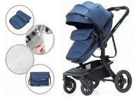 Dětský kombinovaný kočárek Mama Kiddies Moon Ocean Blue: 2 v1 s doplňky v modré barvě