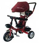 Mama Kiddies Major Trike tříkolka s vodící tyčí a stupačkami, červená (otočné sedadlo o 360°)