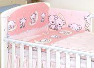 Mama Kiddies Baby Bear 5-dílná dětská ložní souprava s mantinelem 180°, růžová - vzor medvídci