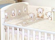 Mama Kiddies Baby Bear 5-dielna detská posteľná bielizeň s 180 ° krytom na mriežky béžová s macíkmi