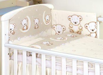 Mama Kiddies Baby Bear 5-dílná dětská ložní souprava s mantinelem 180°, béžová - vzor medvídci