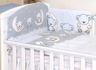 Mama Kiddies Baby Bear 5-dielna detská posteľná bielizeň s 180 ° krytom na mriežky sivá s macíkmi