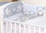 Mama Kiddies Baby Bear 5-dílná dětská ložní prádlo s 180 ° krytem na mřížky šedá s macíkmi