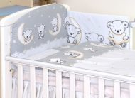 Mama Kiddies Baby Bear 5-dílná dětská ložní souprava s mantinelem 180°, šedá - vzor medvídci