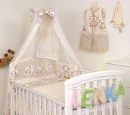 Mama Kiddies Baby Bear 6-dielna detská posteľná bielizeň s 180 ° krytom na mriežky béžová s macíkmi