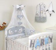 MamaKiddies Baby Bear 6-dielna posteľná bielizeň s 180 ° krytom na mriežky sivá s macíkmi
