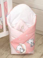 Mama Kiddies Baby Bear zavinovačka růžová s macíkmi