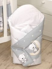 Mama Kiddies Baby Bear zavinovačka šedá s macíkmi