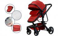 Dětský kombinovaný kočárek Mama Kiddies Moon Red: 2 v1 s doplňky v červené barvě