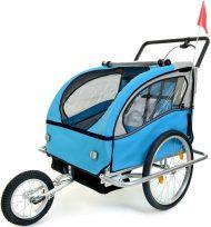 2 místný odpružený vozík za kolo v modro-černé barvě