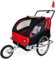 2 místný odpružený vozík za kolo v červeno-černé barvě
