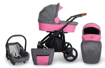 Dětský kočárek MamaKiddies Titan 3v1 s doplňky, barva PINK + Dárek