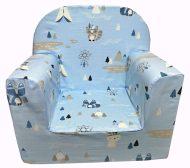 Detská fotelka Prémium  světle-modrá se vzorem indián a zvířatka