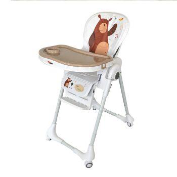Detská multifunkčná jedálenská stolička MamaKiddies Star, hnedá s macíkom