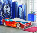Mama Kiddies dětská postel 140x70-cm s designem auta- se vzorem Závodní auto a s matrací