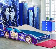 Mama Kiddies 160x80-cm dětská postel s designem auta- se vzorem Sheriff