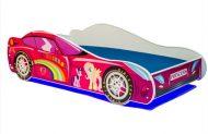 Mama Kiddies 140x70-cm dětská postel s designem auta - se vzorem Princess Rainbow a s matrací