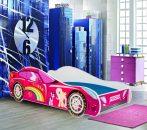 Mama Kiddies 160x80-cm dětská postel s designem auta- se vzorem Princess Rainbow