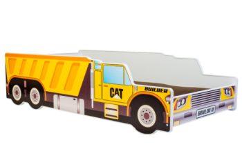 Mama Kiddies 140x70-cm dětská postel s designem auta- se vzorem nákladní auto CAT a s matrací