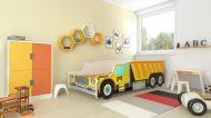 Mama Kiddies 160x80-cm dětská postel s designem auta- se vzorem CAT