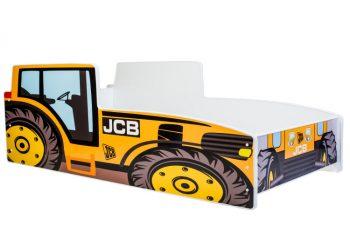 Mama Kiddies 140x70-cm dětská postel s designem traktor- žlutá s matrací
