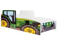 Mama Kiddies 140x70-cm dětská postel s designem traktor - zelená s matrací