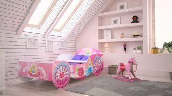 Mama Kiddies 140x70-cm dětská postel s designem kočáru- s růžovým vzorem a s matrací