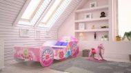 Mama Kiddies 160x80-cm dětská postel ve tvaru kočáru s růžovou vzorkem