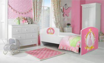 Mama Kiddies 140x70-cm dětská postel s designem princezna a s matrací