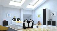 Mama Kiddies 160x80-cm dětská postel s designem Panda- s matrací