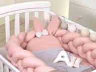 Pletený mantinel - dětské hnízdo  2v1 - Pure Rose - 240 cm
