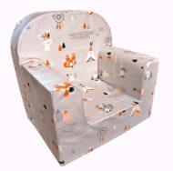 Dětská fotelka Prémium  růžová se vzorem indián a zvířatka