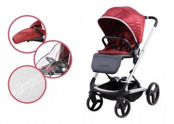 Mama Kiddies ISmart sportovní kočárek s doplňky, červená barva + DÁREK: nánožník