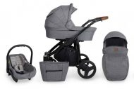 Dětský kombinovaný kočárek Mama Kiddies Titan 3v1 s doplňky, barva světle šedá + Dárek