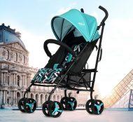Mama Kiddies Mignon full extra sportovní kočárek skládatelný na deštník v tyrkysové barvě + dárek