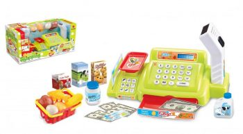 Mama Kiddies 24-dielna pokladňa so snímačom čiarového kódu a mnohými doplnkami v zelenej farbe
