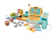 Mama Kiddies 24 dílná FULL EXTRA hračkářská pokladna s množstvím doplňků v oranžovo-tyrkysové barvě