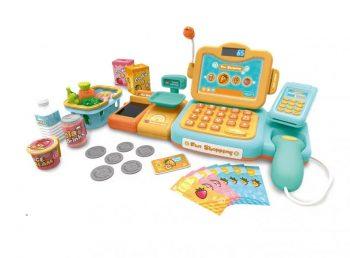 Máma Kiddies 24dílná FULL EXTRA hračkářská pokladna s množstvím doplňků v oranžovo-tyrkysové barvě