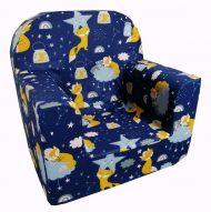 Detská fotelka Prémium  tmavomodrá so vzorom líška