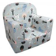 Detská fotelka Prémium  sivá so vzorom srnky