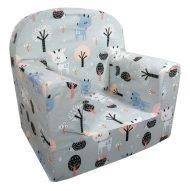 Detská fotelka Prémium  šedá se vzorem srnky