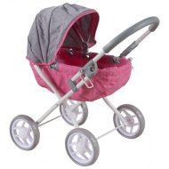 Ružovo-sivý klasický detský kočík pre bábiky